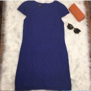 Suzi Chin Size 6 Royal Blue Dress w/ Lace Overlay